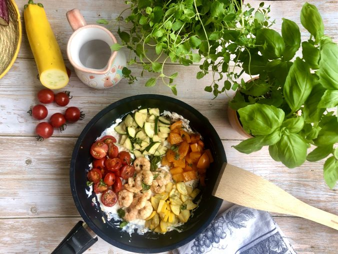 Gemüse-Garnelen-Pfannee